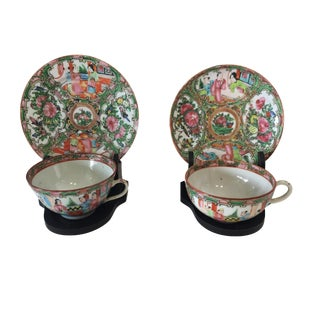 Antique Rose Medallion Porcelain Tea Cups & Saucers S/2