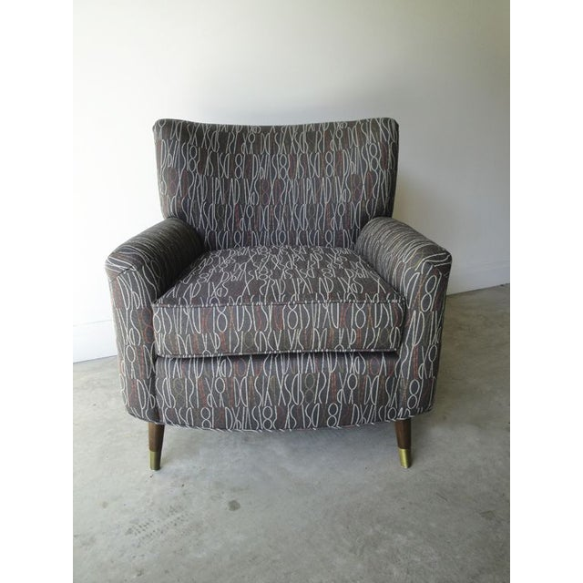 Brown Retro Print Modern Lounge Chair - Image 2 of 6