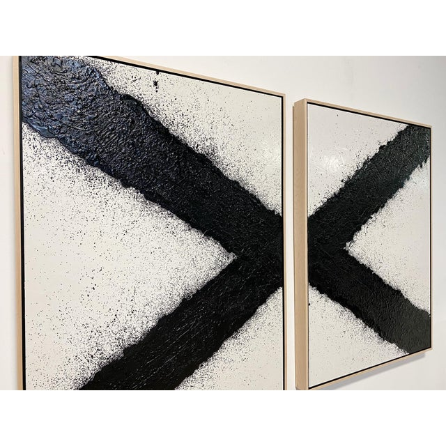"2020s Exclusive John O'Hara ""Tar, X"" Encaustic Paintings (2-Panel) For Sale - Image 5 of 10"