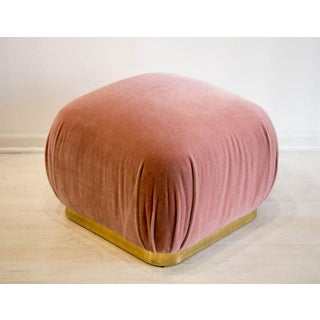 Large Brass Plinth Souffle Ottoman in Dusty Rose Mohair Preview