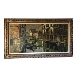 "Mid-Century Impressionist ""Venice Canal"" Oil Painting Signed Montani For Sale"