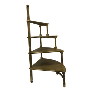Vintage Gilded Stair Shaped Bookshelf For Sale
