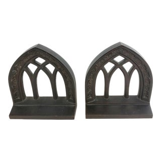 Bradley Hubbard Vintage Cast Iron Cathedral Window Bookends - a Pair For Sale