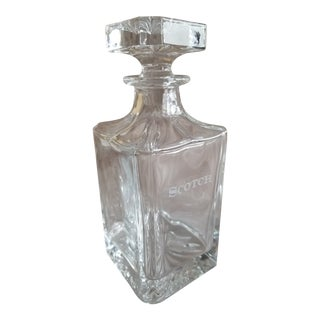 Neiman Marcus Etched Glass Scotch Decanter by Godinger For Sale