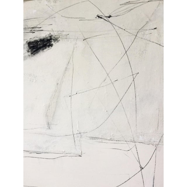 Abstract Black and White Mixed Media Painting For Sale In Miami - Image 6 of 7