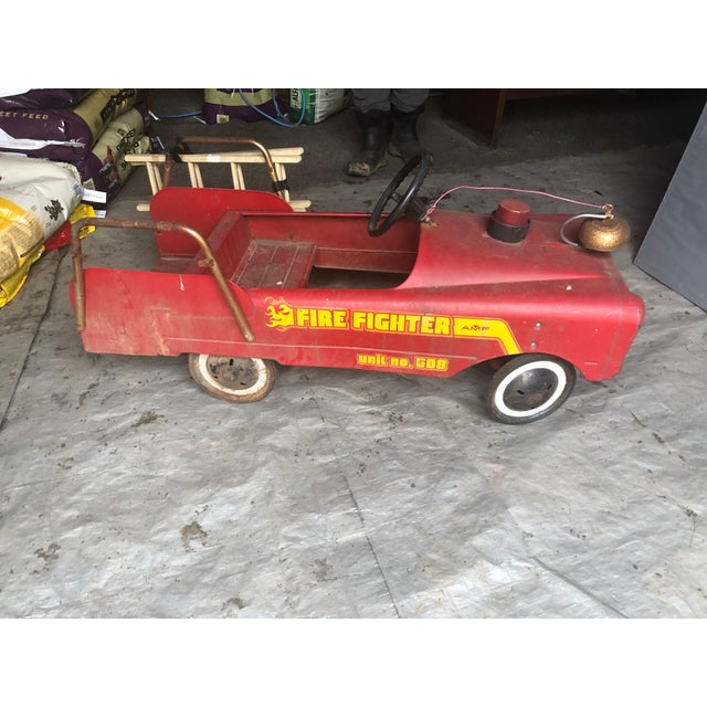 Vintage Fire Engine Toy Pedal Car With Ladders For Sale - Image 4 of 8