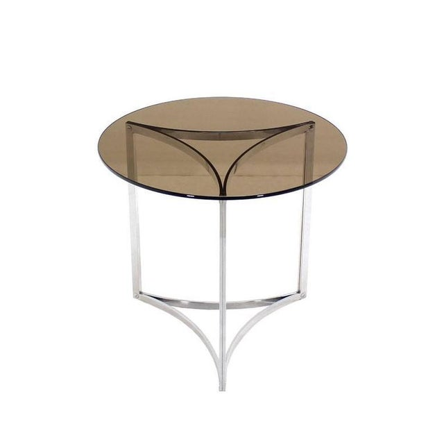 Early 20th Century Triangular Bent Chrome Ribbon Base Smoked Glass Top Side End Table For Sale - Image 5 of 6