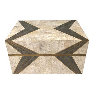 Maitland Smith Tessellated Stone Geometric Box For Sale