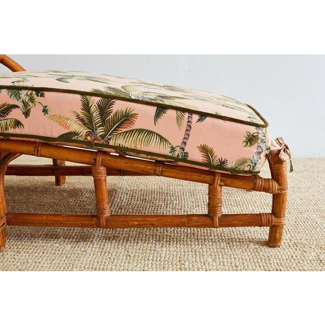 Hollywood Regency Paul Frankl Style Three Strand Rattan Chaise Lounge For Sale - Image 3 of 13