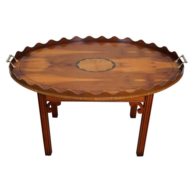 English Yew Wood Inlaid Tray Top Coffee Table - Image 1 of 10