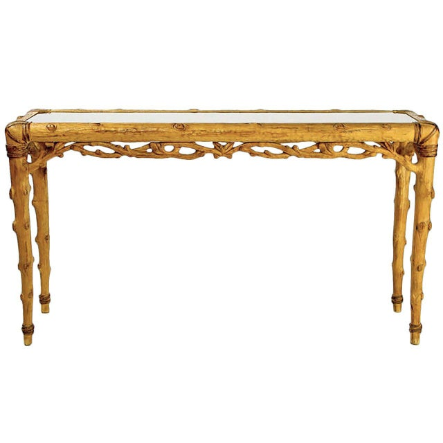 Faux Bois Carved Wood and Glass Console Table For Sale - Image 10 of 10