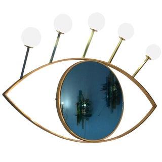 Contemporary Brass Wall Lightning Sconces Mirror Blue Eyes, Italy