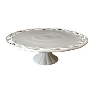 1950s Pitman-Drietzer Colony Lace Edge Milk Glass Cake Stand For Sale