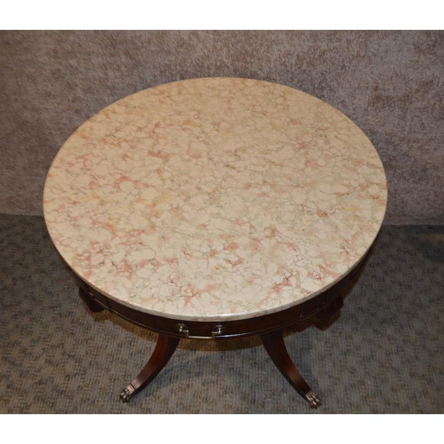 Mahogany Round Marble Top Table - Image 5 of 11