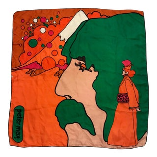 """1970 Peter Max """"Beatles"""" Psychedelic Silk Scarf For Sale"""