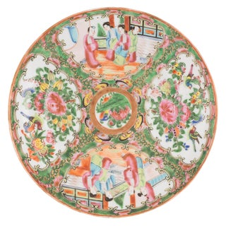 Mid 19th Century Vintage Chinese Porcelain Rose Medallion Plate For Sale