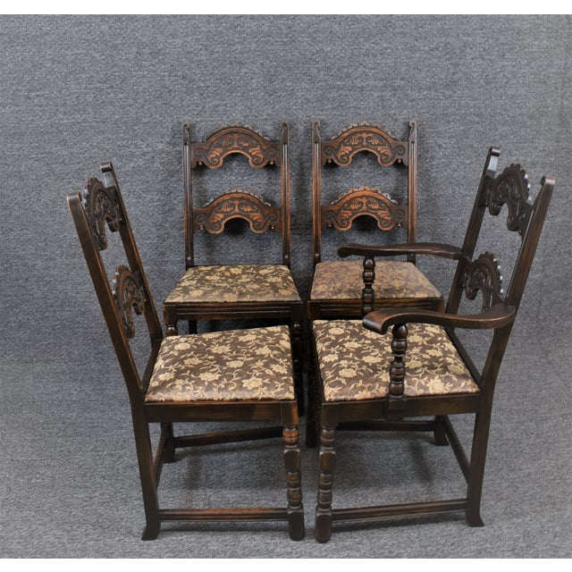 Vintage Solid Carved Dark Oak Jacobean Chairs- Set of 6 For Sale - Image 6 of 11