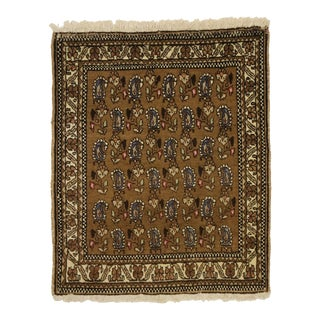Vintage Persian Mashhad Scatter Rug With Mid-Century Modern Style - 02'00 X 02'03 For Sale
