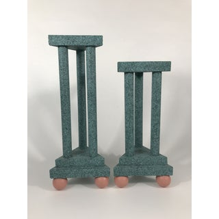 Vintage 80s Geometric Postmodern Candlestick Holders - a Pair Preview