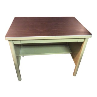 1950s Industrial Metal Writing Desk For Sale
