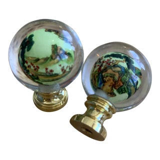 Vintage Custom Chinoiserie Finials - a Pair For Sale