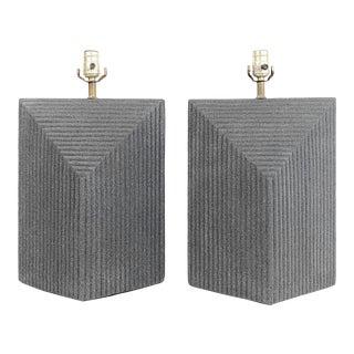 1980s Grey Postmodern Stepped Ceramic Lamp Pair For Sale
