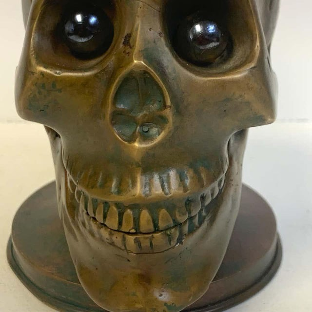 Traditional Victorian Bronze Skull With Glass Eyes, by s.w. Farber, New York For Sale - Image 3 of 10