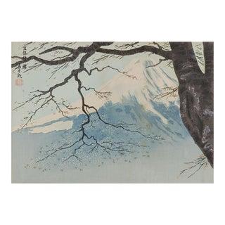 Mt. Fuji and Cherry Blossoms Woodblock Print