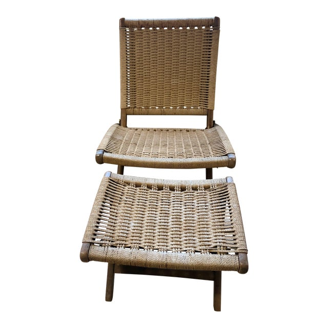 1960's Danish Modern Folding Rope Chair & Ottoman - 2 Pieces For Sale
