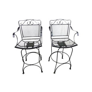 Tall Wrought Iron Swivel Chairs - a Pair For Sale