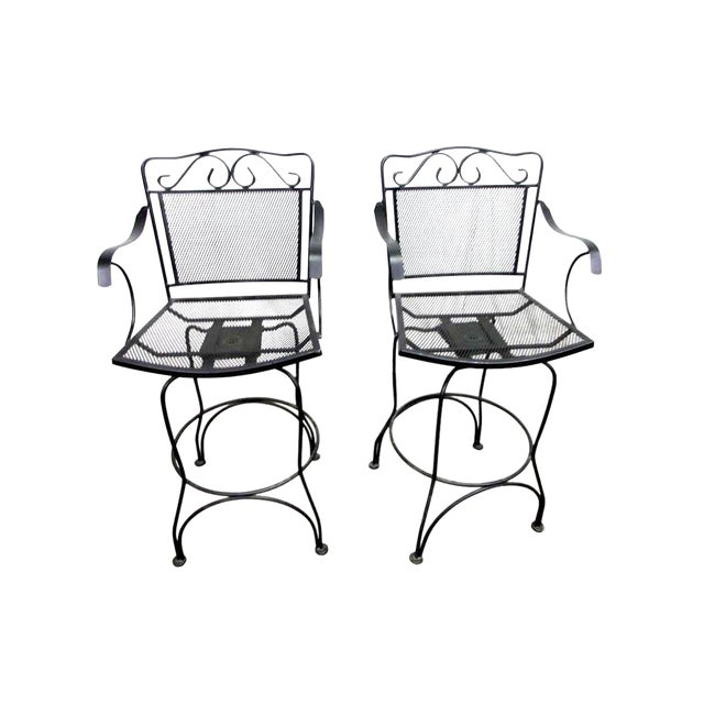 Brilliant Tall Wrought Iron Swivel Chairs A Pair Bralicious Painted Fabric Chair Ideas Braliciousco
