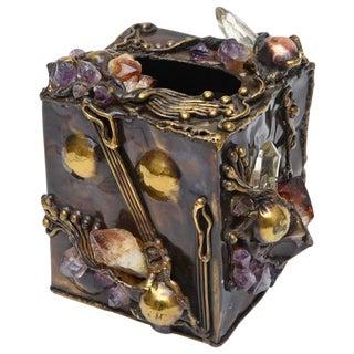 Brutalist Sculptural Mixed Metal and Amethyst, Quartz Tissue Box/ SAT.SALE For Sale