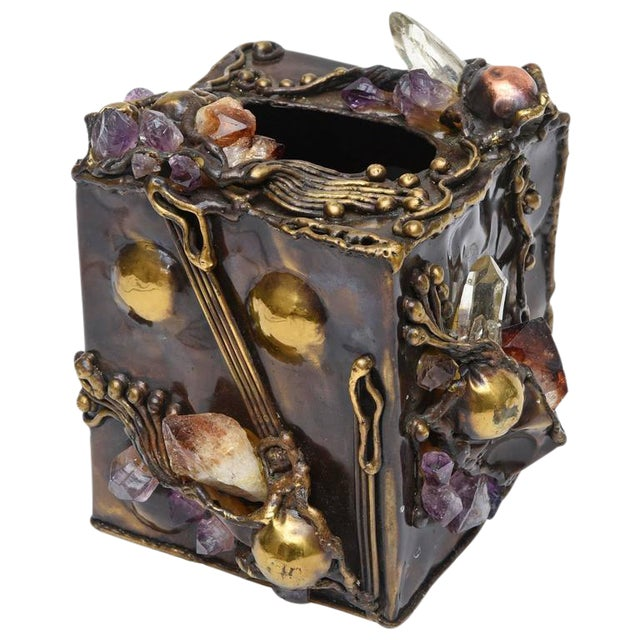 Brutalist Sculptural Mixed Metal and Amethyst, Quartz Tissue Box/ SAT.SALE For Sale