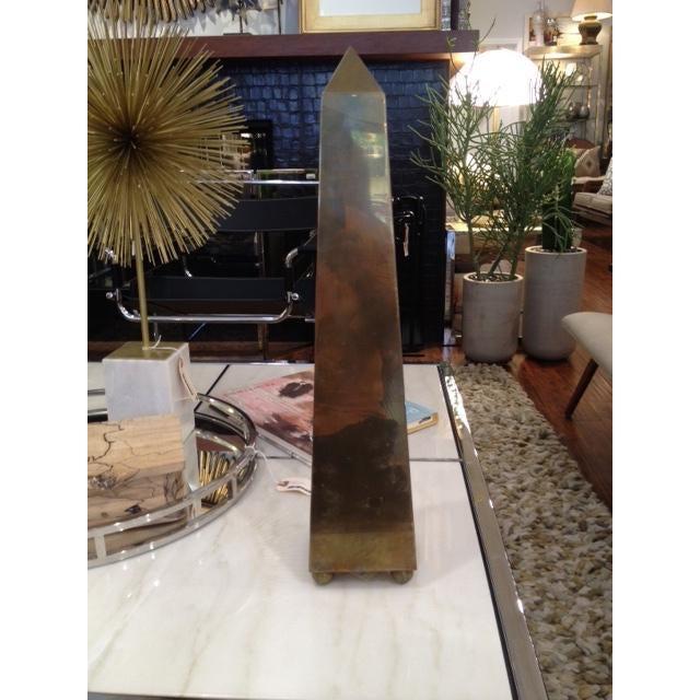 Modern Vintage Large 1970's Brass Obelisk For Sale - Image 3 of 6