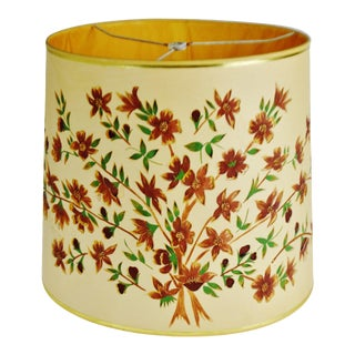 Vintage Floral Cut Out Drum Lampshade For Sale