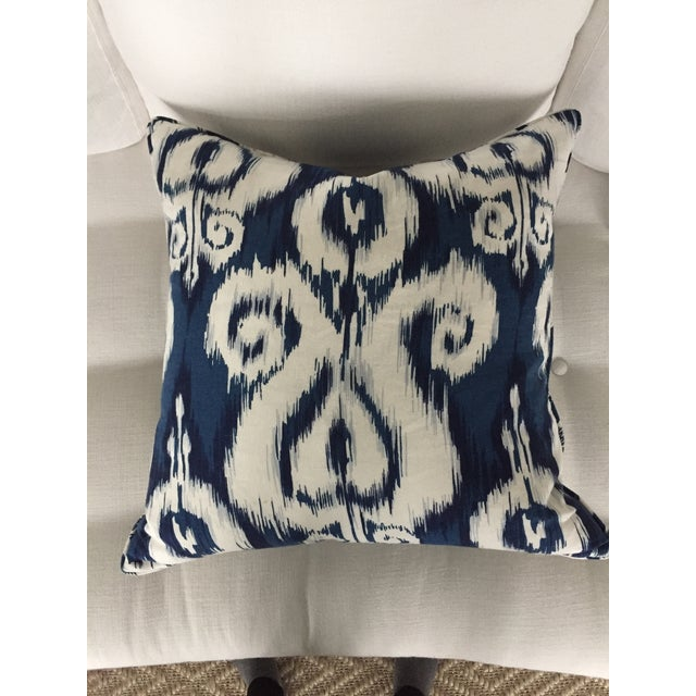 Blue & White Ikat Pillow - Image 2 of 3