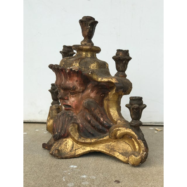 Early 18th Century Early 18th Century Antique Painted Candelabra For Sale - Image 5 of 6
