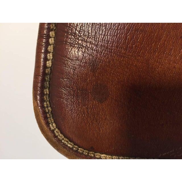 Brown Moroccan Berber Tribal Hand Tooled Leather Shoulder Bag For Sale - Image 8 of 9
