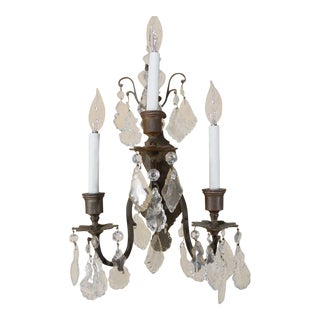 Pair of Italian Cut Crystal Wall Sconces For Sale