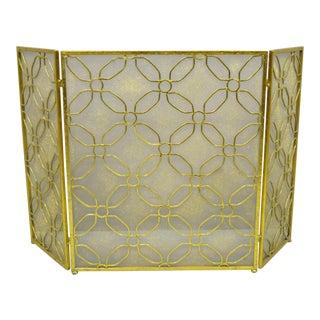 Hollywood Regency Gold Decorator Metal Folding Fireplace Screen For Sale