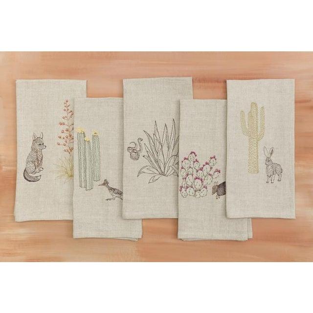 Tan Roadrunner and Organ Pipe Cacti Tea Towel For Sale - Image 8 of 9
