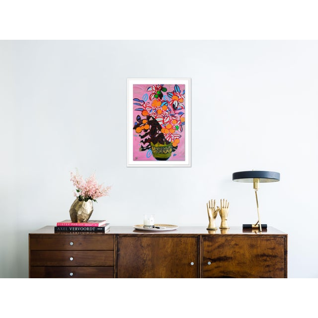 Contemporary Orange Tree by Jelly Chen in White Framed Paper, Large Art Print For Sale - Image 3 of 4