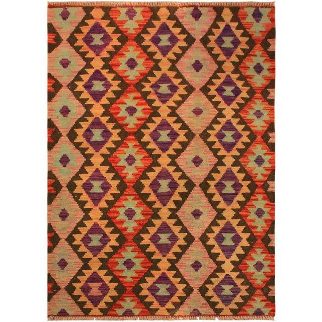 Purple Kilim Arya Nephele Rust/Purple Wool Rug -3'4 X 5'0 For Sale - Image 8 of 8
