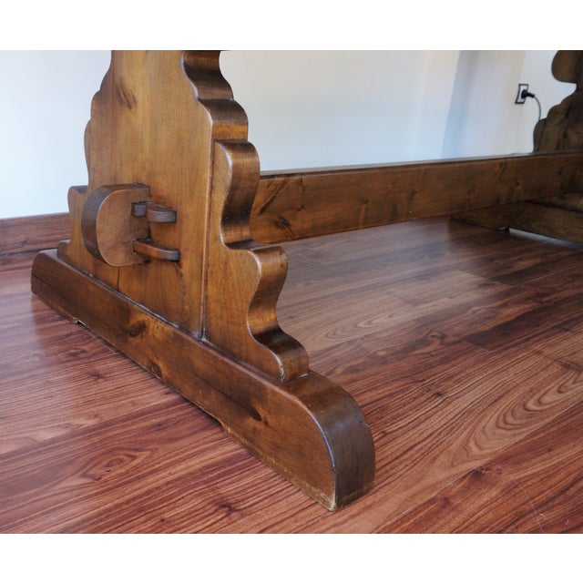 Spanish Rustic Dining Room Table with Lyre Leg For Sale - Image 9 of 10