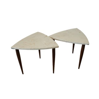 Danish Mid-Century Modern Marble Stacking Occasional Tables - a Pair For Sale