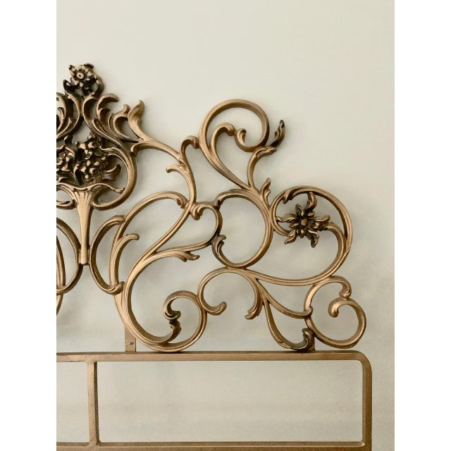 Vintage Gold Iron Twin Headboards With Floral Motif - a Pair For Sale - Image 9 of 11