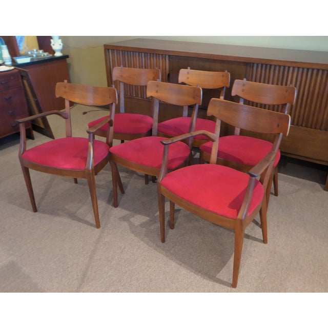 "Set of 6 Mid-Century Modern Drexel ""Declaration"" Line Walnut Dining Chairs 1950s For Sale - Image 11 of 12"