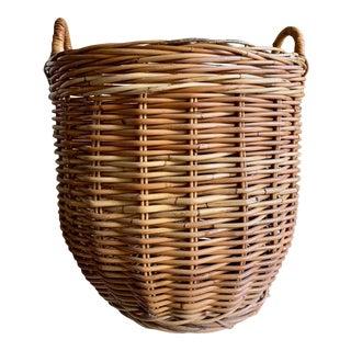 Large Wood Rustic Organizational Basket For Sale
