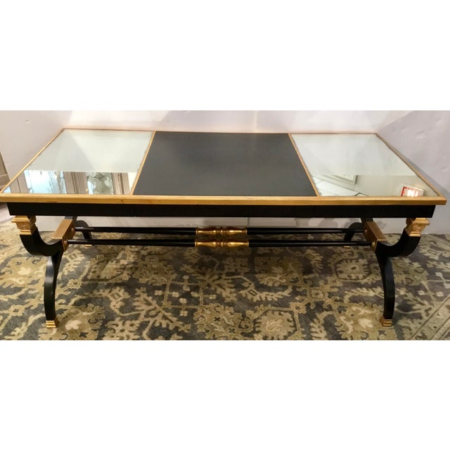Original Retail $6800, elegant Lillian August for Hickory White transitional black and gold Ziecel writing desk, antique...