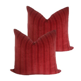 Lee Jofa Red Linen Velvet Pillows - a Pair For Sale
